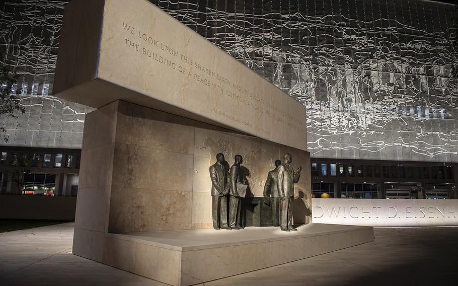 With a map of the world in bas relief behind, sculptures depicting the 34th president standing with military and civilian advisors is part of the new Dwight D. Eisenhower Memorial in Washington D.C., as seen on Sept. 8, 2020.