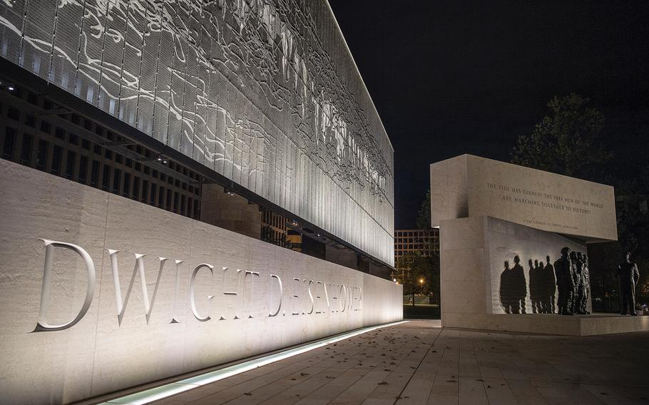 An artistically-woven stainless steel tapestry depicting the Pointe du Hoc promontory of France's Normandy coastline in peacetime provides the backdrop to the new Dwight D. Eisenhower Memorial in Washington D.C., as seen on Sept. 8, 2020.