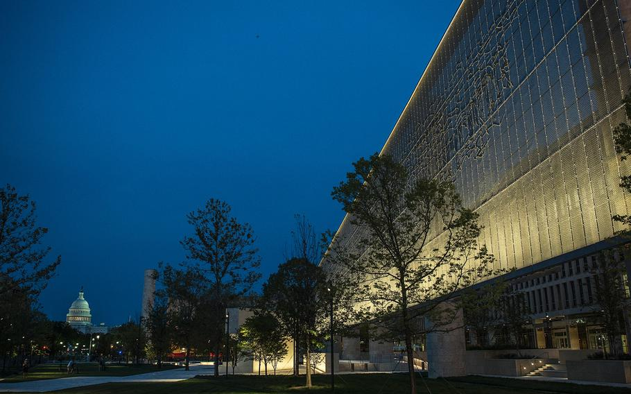 Supported by six 80-foot stone-clad columns, an artistically-woven stainless steel tapestry, depicting the Pointe du Hoc promontory of France's Normandy coastline, frames the south side of the new Dwight D. Eisenhower Memorial in Washington D.C., as seen on Sept. 8, 2020.