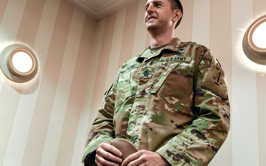 Army Sgt Maj. Thomas Patrick Payne speaks on Wed., Sept. 9, 2020 about actions in Iraq in Oct. 2015 for which he will receive the Medal of Honor on Sept. 11, 2020.