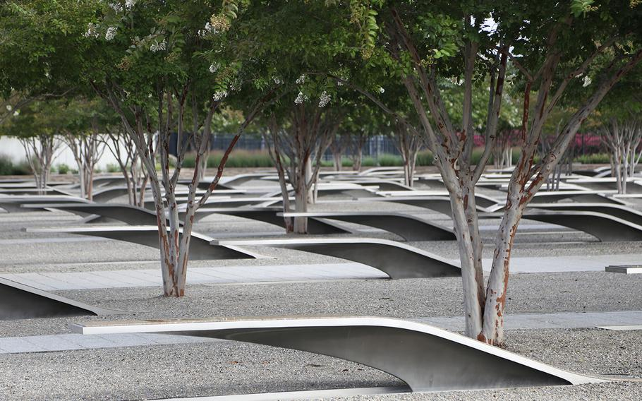 The National 9/11 Pentagon Memorial is across the site of the attack on the Pentagon that occurred on Sept. 11, 2001. Each bench has the name of a person who died at the Pentagon.