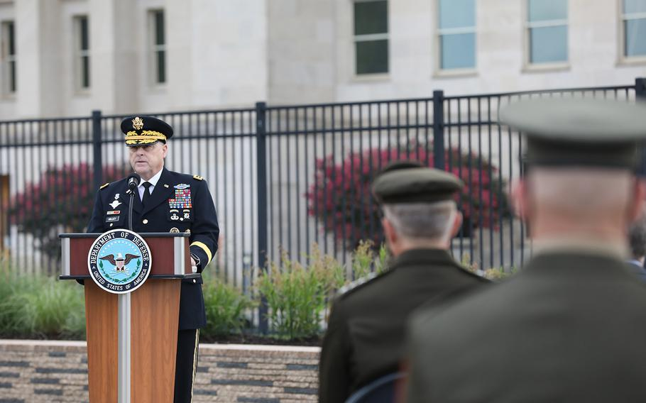 Gen. Mark Milley, chairman of the Joint Chiefs of Staff, speaks during the Pentagon's 9/11 observance ceremony in the National 9/11 Pentagon Memorial located across from the site of the attack on Friday, Sept. 11, 2020.