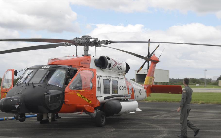 A Coast Guard MH-60 Jayhawk Helicopter from Coast Guard Air Station Clearwater, Fla., arrives at Coast Guard Air Station New Orleans on Monday, Sept. 14, 2020. Crews from surrounding units arrived in New Orleans to provide backup during hurricane response.