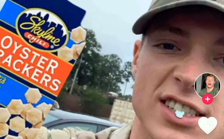A screenshot from one of the many fan accounts created for 2nd Lt. Nathaniel Freihofer, a U.S. Army soldier under investigation for anti-Semitic remarks on TikTok.
