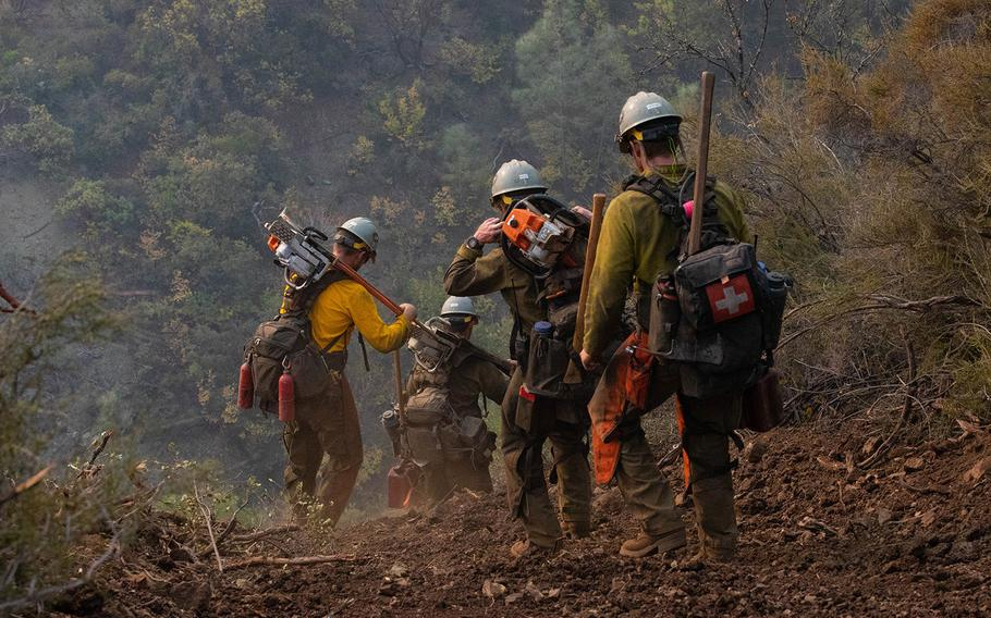 About 200 soldiers from Joint Base Lewis-McChord, Wash., arrive in northern California on Aug. 31, 2020, to help combat the August Complex Fire that covers more than 817,000 acres.