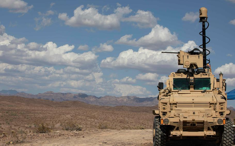 The Next-Generation Combat Vehicle Mine-Resistant Ambush Protected surrogate conducts a live-fire exercise during the Project Convergence capstone event at Yuma Proving Ground, Arizona, Aug. 11 - Sept. 18, 2020.