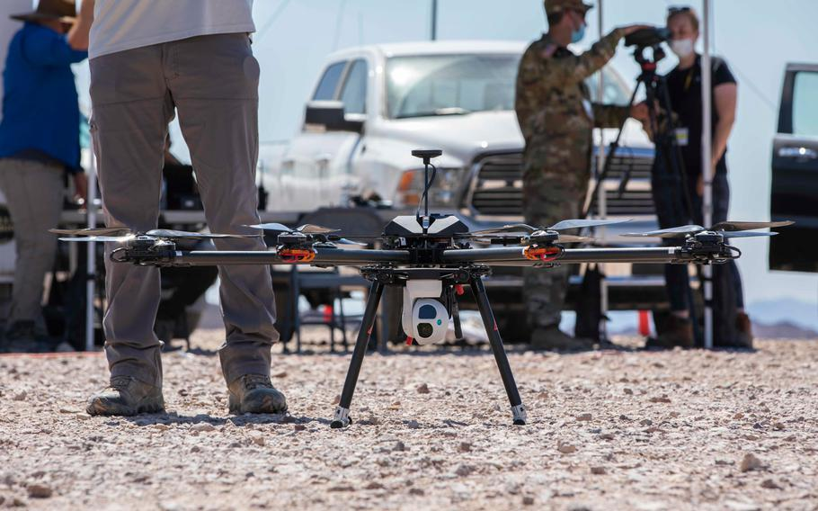 The TAROT drone conducts a practice run during the Project Convergence capstone event at Yuma Proving Ground, Arizona, Aug. 11 - Sept. 18, 2020.