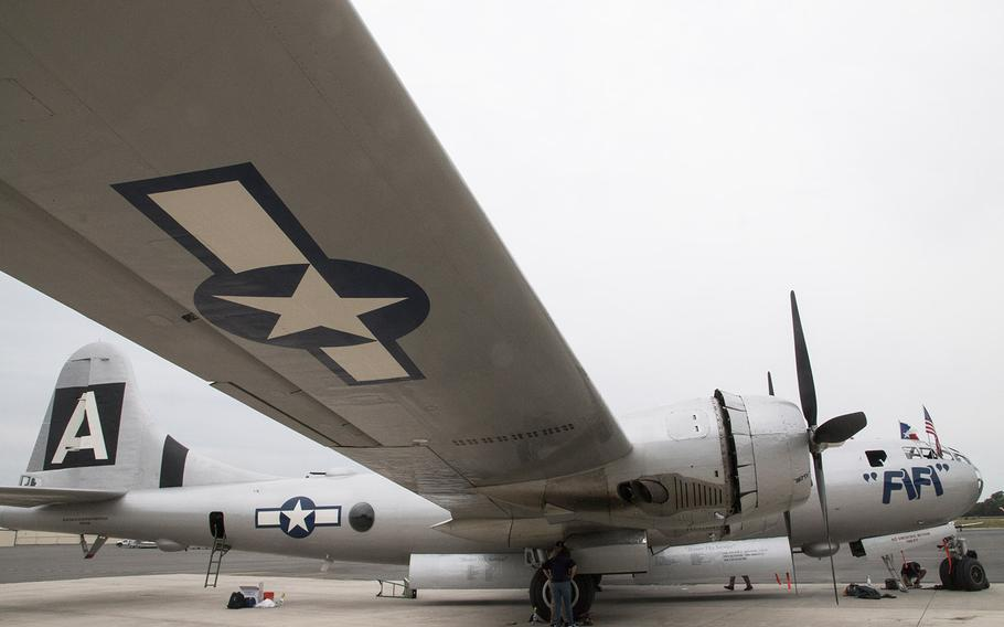 """The B-29 Superfortress """"FiFi"""" during a Thursday media event for Friday's Arsenal of Democracy flyover of Washington, D.C."""