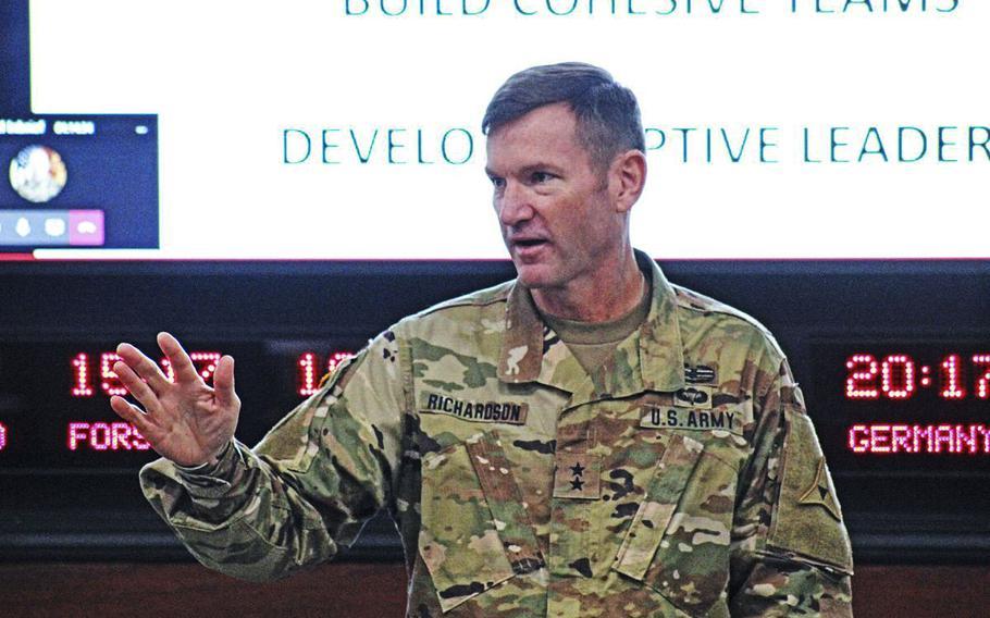 Maj. Gen. John Richardson, deputy commander of III Corps and Fort Hood, speaks Friday to a room of brigade-level command teams regarding Operation Phantom Action at III Corps headquarters.
