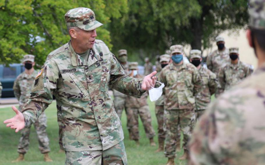 Maj. Gen. Jeffery Broadwater shares his intent and expectations for Operation Pegasus Strength with troopers assigned to 1st Battalion, 5th Cavalry Regiment. Operation Pegasus Strength is an initiative aimed at addressing suicide, sexual assault, sexual harassment and extremism in the Army while also building cohesive teams.