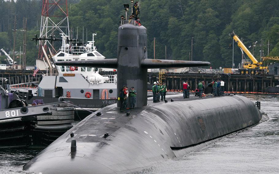 The Ohio-class ballistic-missile submarine USS Alabama returns to Naval Base Kitsap-Bangor following a routine strategic deterrent patrol in 2016.