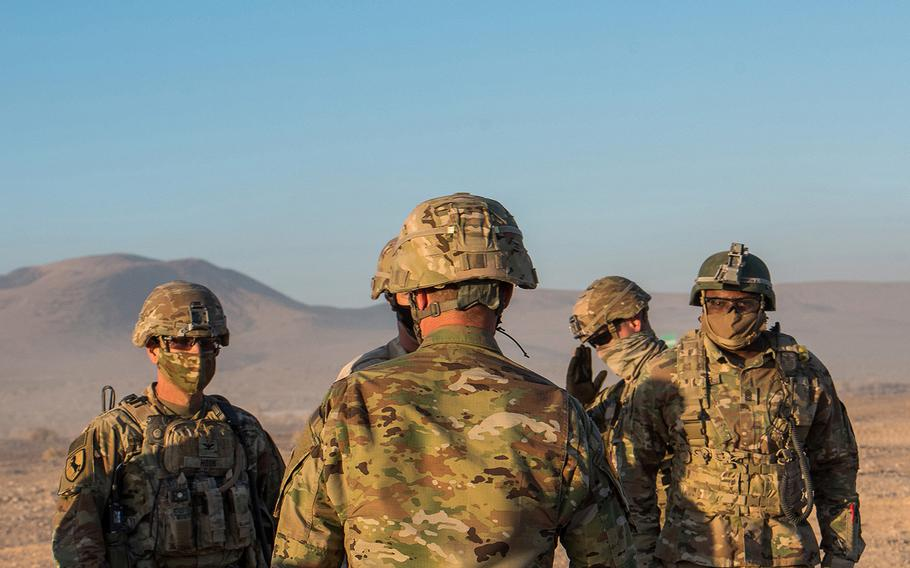 Soldiers wear face coverings Sept. 20 as training at the Army's National Training Center at Fort Irwin in California continues during the coronavirus pandemic.