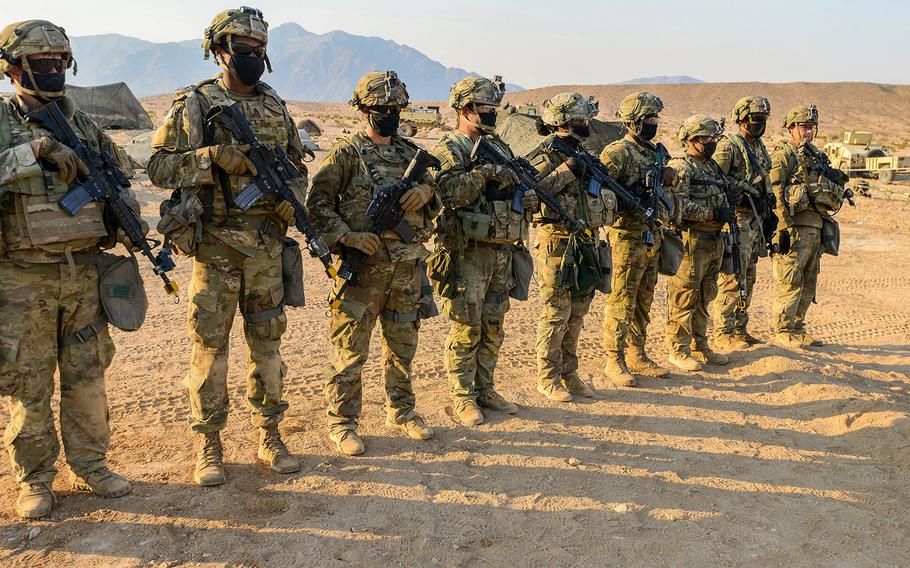Soldiers with the Army's 1st Infantry Division train during a rotation at the National Training Center at Fort Irwin, Calif., on Sept. 19. The Fort Riley, Kan.-based soldiers were training for operations against a near-peer adversary even as the coronavirus stretched on.