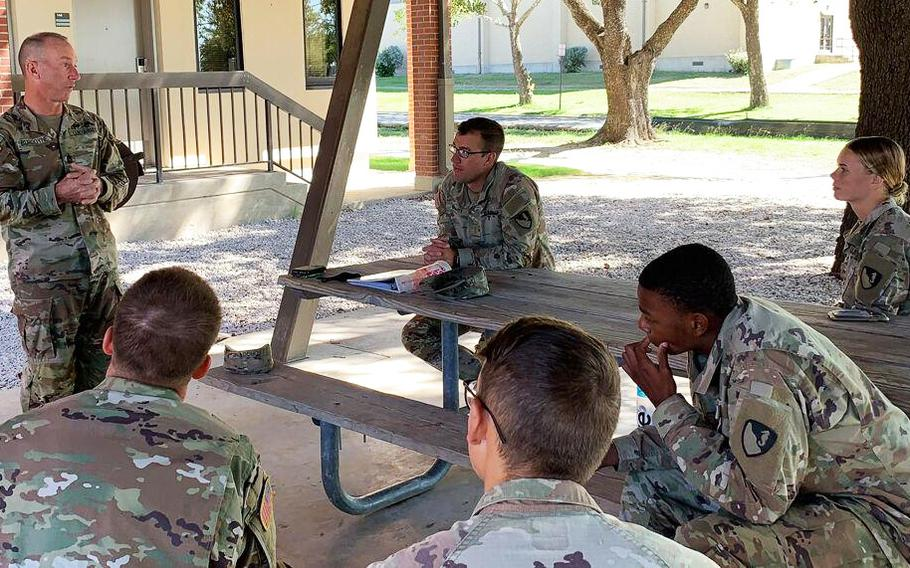 Command Sgt. Maj. Cliff Burgoyne Jr., top enlisted adviser for III Corps and Fort Hood, explains the three main points of emphasis of Operation Phantom Action on Tuesday to newly arrived Fort Hood troopers at the III Corps Replacement Detachment.