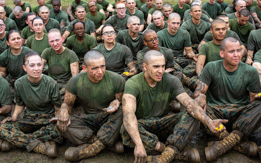 Recruits with India Company, 3rd Recruit Training Battalion, repeat back commands during a Marine Corps Martial Arts Program training session Dec. 30, 2019 at Marine Corps Recruit Depot Parris Island, S.C.