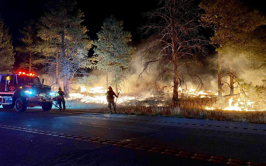 The Wild Horse Fire began Sunday, Oct. 11, 2020, in the training area of Fort Carson, Colo. As of Tuesday morning, the fire had spread to about 670 acres.