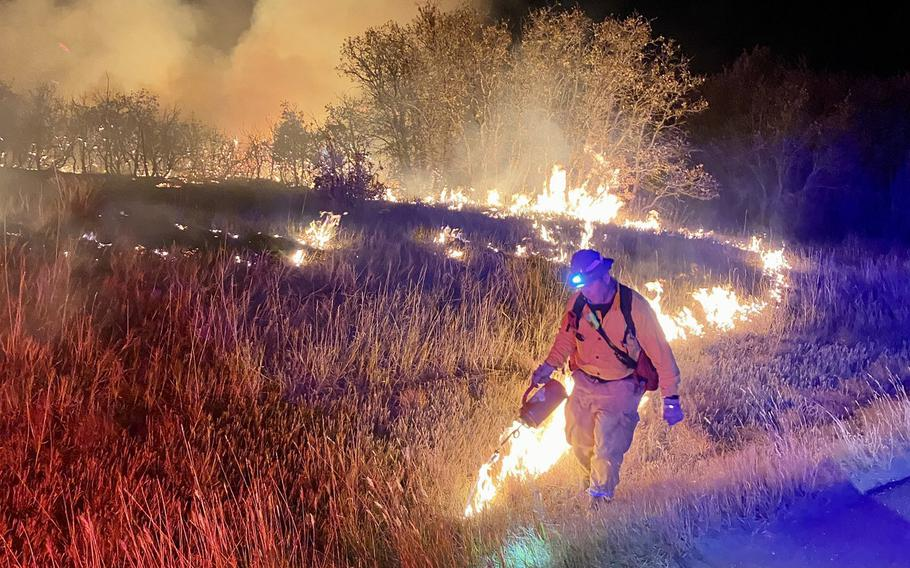 The Wild Horse Fire began Sunday, on Oct. 11, 2020, in the training area of Fort Carson, Colo. As of Tuesday morning, the fire had spread to about 670 acres.