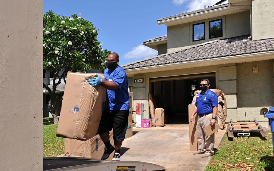 Household Goods Inspector, Faata Leafa, performing an inspection of a household goods packout in Honolulu, Hawaii performed by Aloha International on May 5, 2020.