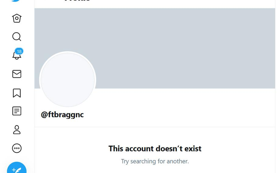 The official Fort Bragg Twitter account was taken down after an incident on Wednesday.