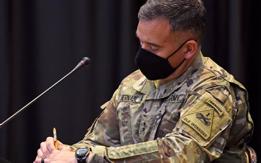 Maj. Gen. Sean Bernabe, the 1st Armored Division and Fort Bliss senior commander, jots down notes moments before going live at his first Fort Bliss coronavirus Facebook Town Hall on Oct. 22, 2020.