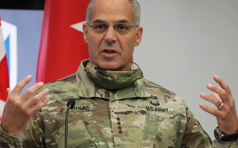 In a July, 2020 photo, Gen. Gus Perna, commander of the Army Materiel Command, speaks at a ceremony at Redstone, Ala.