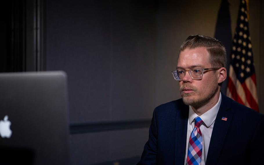 """Justin T. Johnson, acting deputy assistant secretary of defense for space policy,  discusses the """"New Race for Space: Successes and Challenges in the Final Frontier"""" at a virtual Heritage Foundation event, Oct. 7, 2020."""