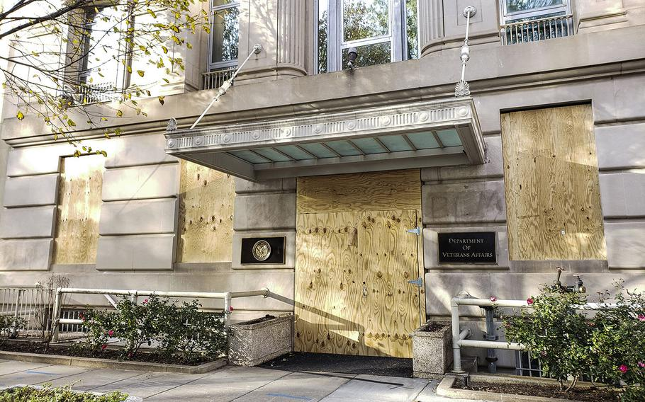 The Department of Veterans Affairs headquarters building in Washington, D.C. is boarded up on Nov. 3, 2020, as protection against any unrest resulting from the election.