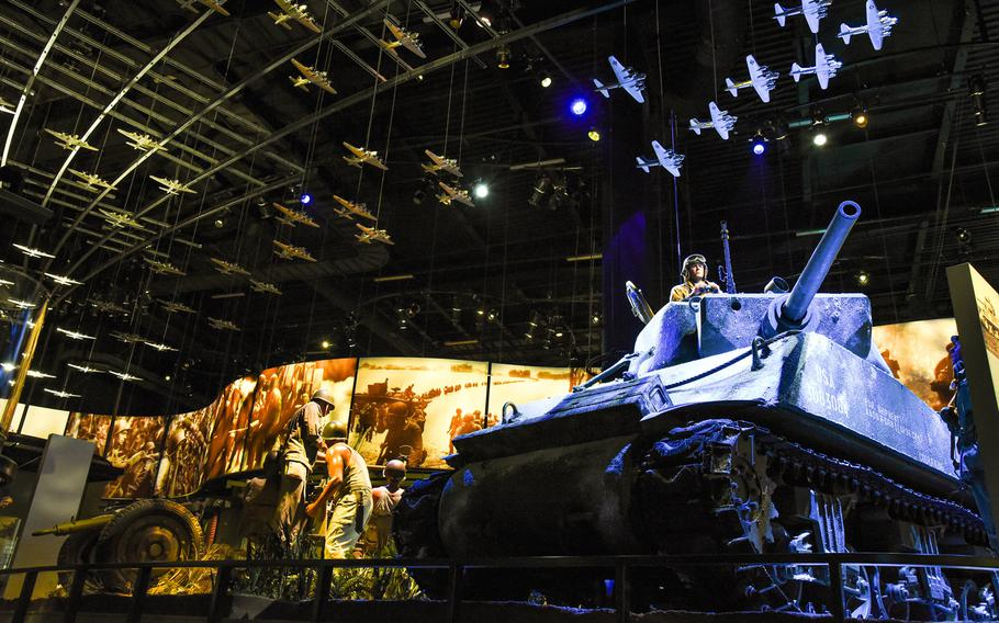 """An M4 Sherman """"Cobra King"""" tank is one of several large World War II artifacts inside the National Museum of the United States Army's Global War Gallery."""