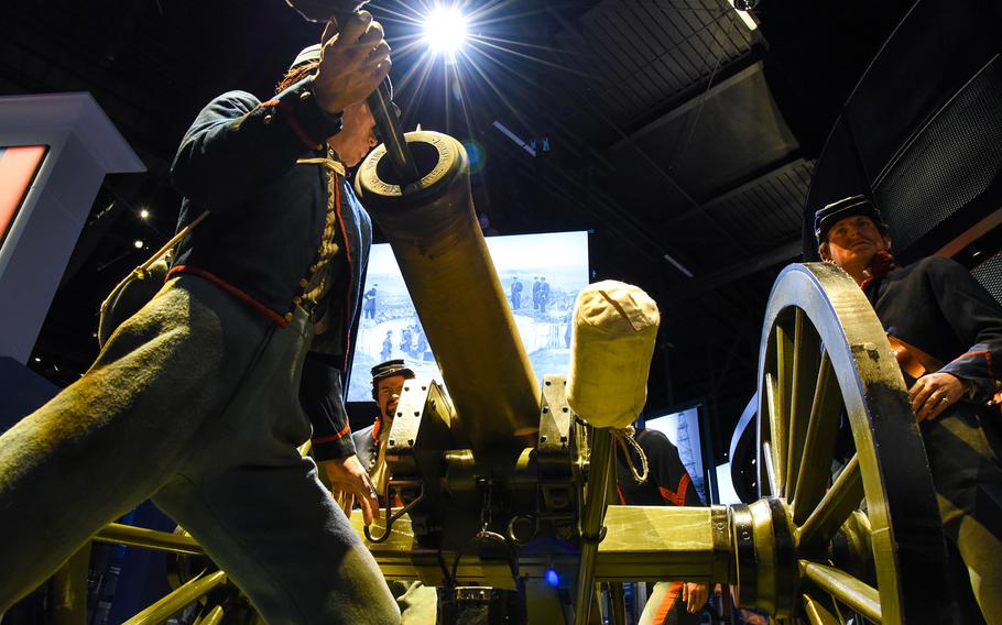 Cast figures of U.S. Army artillerymen during from the Civil War man a 12-pounder Napoleon cannon in the National Museum of the United States Army's Preserving the Nation Gallery. The cannon is an actual artifact from the Battle of Gettysburg.