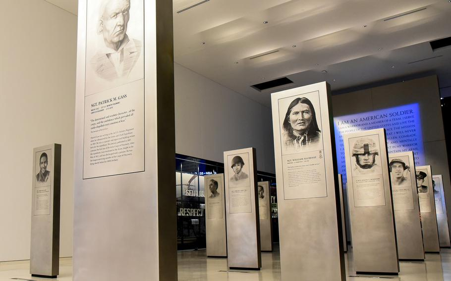 The National Museum of the United States Army features 41 stainless steel pylons that provide information about individual soldiers in the museum's Soldiers' Story Gallery which extends from outside its front doors, leading into the its main exhibits.