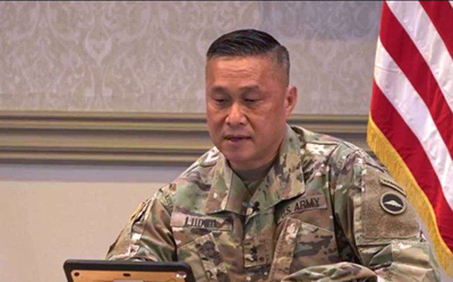 The commander of U.S. Army Japan, Major Gen. Viet X. Luong, hosts a virtual town hall meeting via Facebook, Aug. 3, 2020.