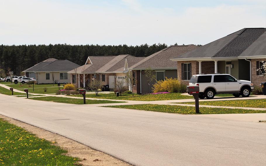 Homes are shown on May 7, 2020, at the South Post Family Housing area at Fort McCoy, Wis.