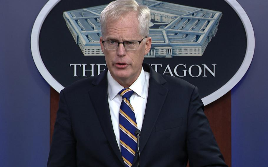 In this screenshot taken from a Department of Defense video, Acting Defense Secretary Christopher Miller speaks at the Pentagon on Nov. 17, 2020.