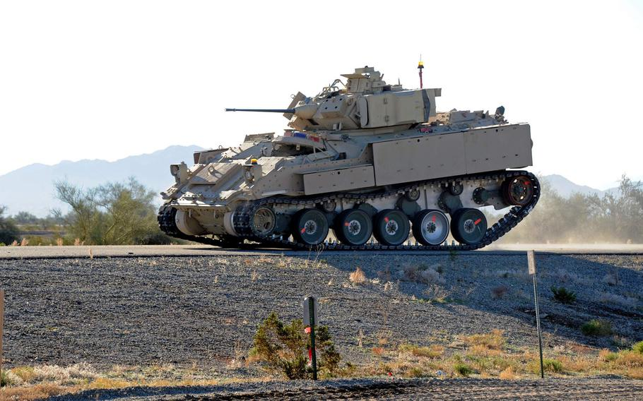 The Army tests advanced running gear for potential use on the future Optionally Manned Fighting Vehicle at U.S. Army Yuma Proving Ground, Ariz., in January 2020. The Army is about to publish its new solicitation for the vehicle.