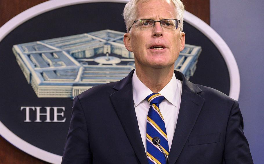 Acting Defense Secretary Christopher C. Miller briefs reporters from the Pentagon, Washington, D.C. Nov.  17, 2020.