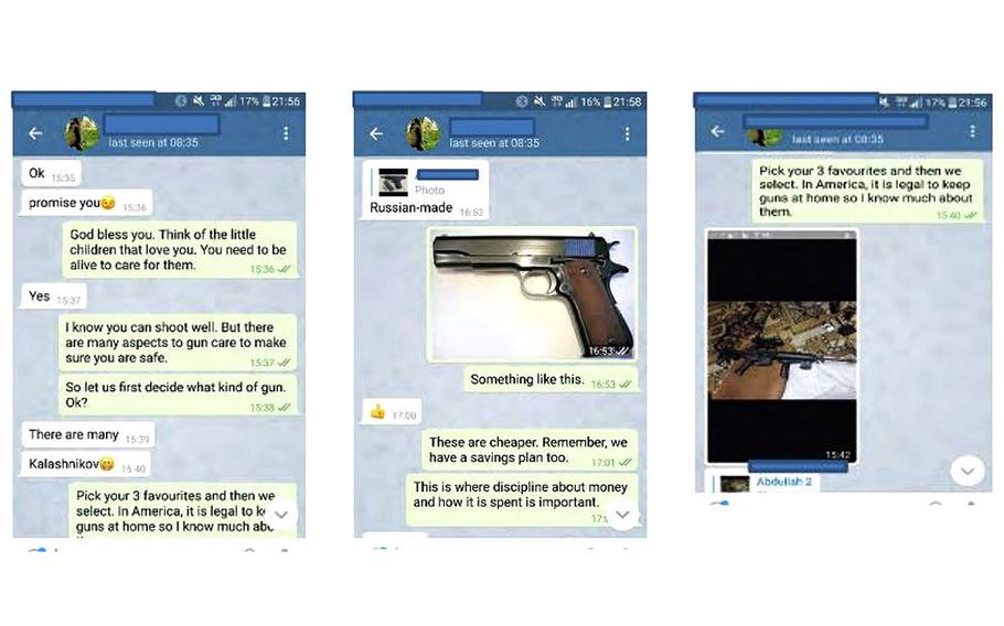 Screenshots of encrypted messages included in a criminal complaint against New Jersey woman Maria Bell, 53, show a conversation federal prosecutors say occurred between the U.S. Army veteran and a militant believed to be Abdullah Flayes. Bell tells him to make a list of his three favorite weapons so they can select one, the complaint says, and she indicated later that she would help pay for the firearm.