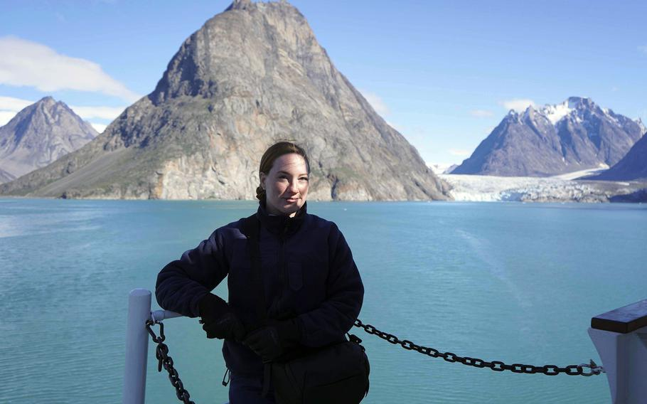 Seaman Kate Kilroy stands aboard the USCGC Campbell off Greenland, Aug. 15, 2020. Kilroy served as a public affairs specialist covering Arctic operations.