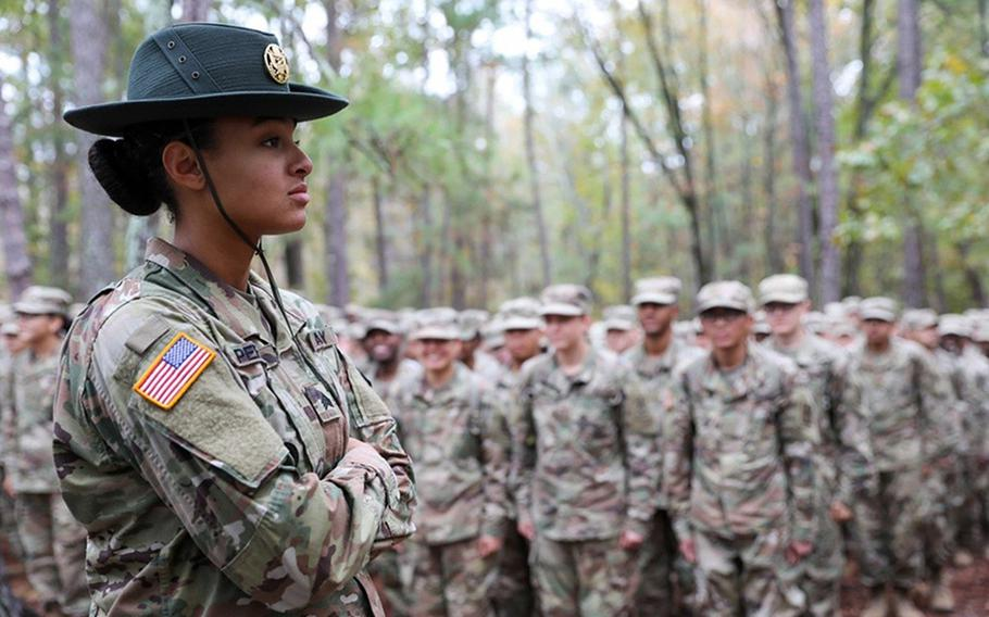 Sgt. Alycia Perkins, a drill sergeant, watches over basic combat training recruits at Fort Jackson, S.C., in 2019. The Army is now testing all recruits for sickle cell trait  and plans to extend the tests to include all soldiers within the next year.