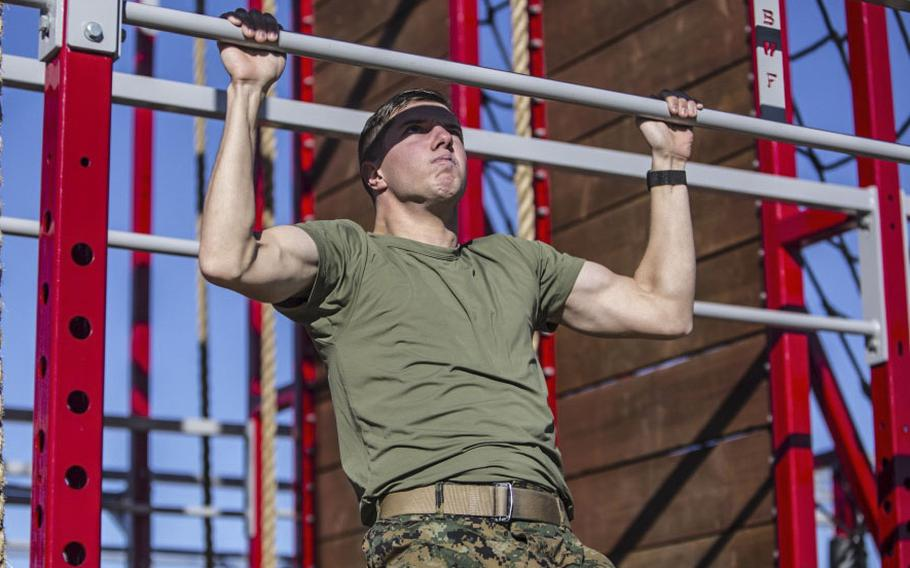 Marine Corps Cpl. Evan Barr, field radio operator, 1st Transport Support Battalion, Combat Logistics Regiment 1, 1st Marine Logistics Group, conducts an individual workout at Paige Fieldhouse, Marine Corps Base Camp Pendleton, Calif., on Jan. 2, 2019. All Marines are required to undergo unit physical fitness training daily, but they are also highly encouraged to train on their own in order to achieve optimal physical fitness.