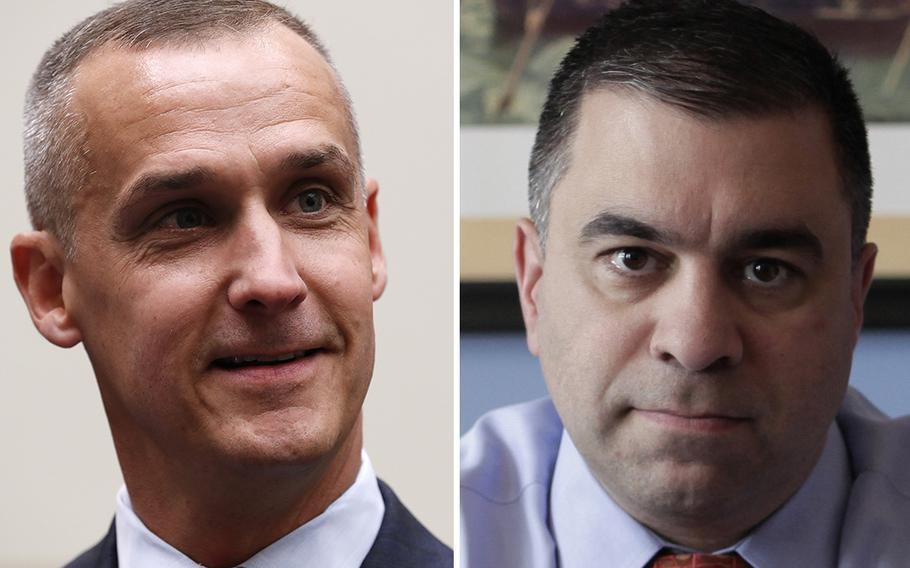 Corey Lewandowski, left, and David Bossie, two close allies of President Donald Trump, were appointed to a Pentagon defense advisory board on Friday, Dec. 4, 2020.