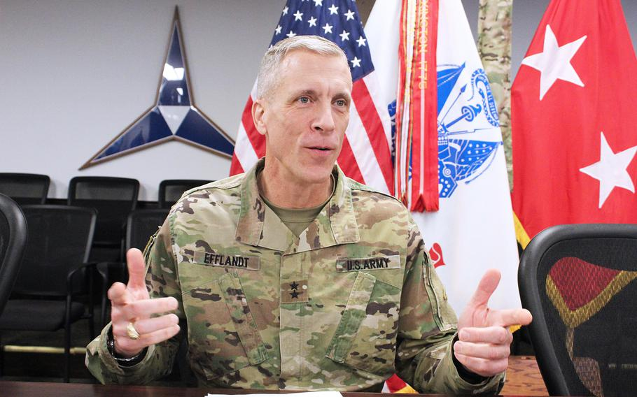 In  a March 19, 2020 photo, Maj. Gen. Scott Efflandt, III Corps and Fort Hood Deputy Commander, speaks during a virtual town hall about the installation's response to the coronavirus outbreak. Efflandt was fired on December 8, 2020, in the wake of an investigation of conditions at Fort Hood.