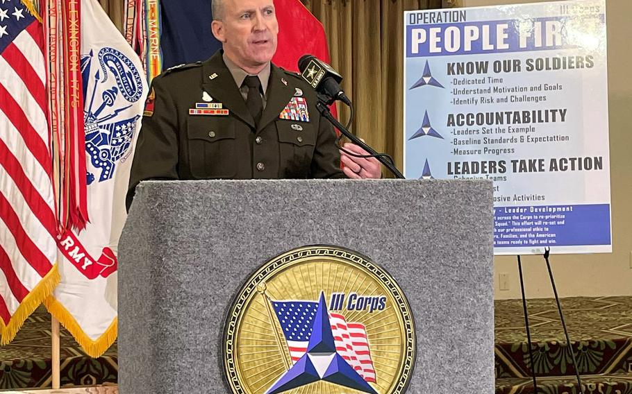 Lt. Gen. Pat White, commander of III Corps and Fort Hood, addresses the findings of an independent civilian-led report into the climate and culture of Fort Hood during a news conference Tuesday. White said he takes ownership of the findings and has already begun to take action to improve conditions for soldiers on the base.