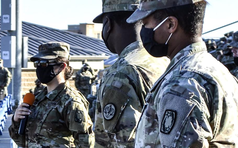A soldier assigned to Fort Hood, Texas, spoke Tuesday to base leadership about the difficulty that she faced in reporting a sexual assault, including that she was forced to live in the same barracks as her perpetrator.