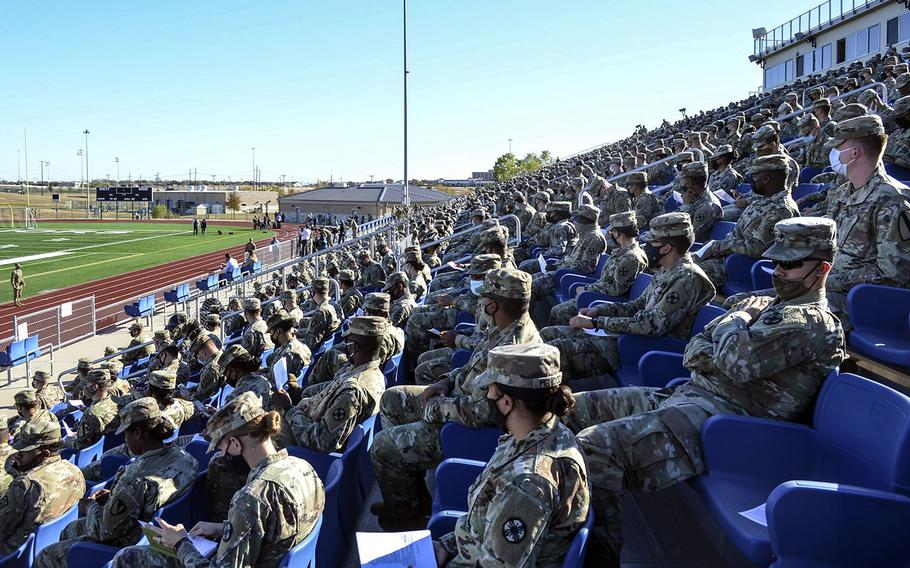 About 2,000 soldiers filled an outdoor stadium at Fort Hood, Texas, on Tuesday where Lt. Gen. Pat White, base commander, addressed a report that found Fort Hood has ineffectively implemented the Army's sexual assault response program, which has led to a lack of confidence and underreporting among junior enlisted soldiers.
