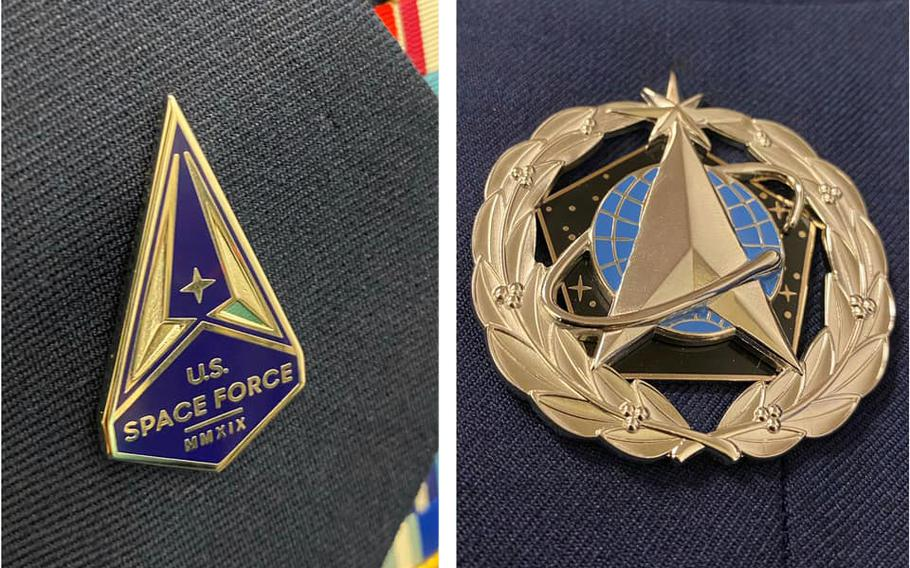 The Space Force lapel pin. left, and the service badge, right, will be how service members in the newest military branch distinguish themselves from airmen for now.