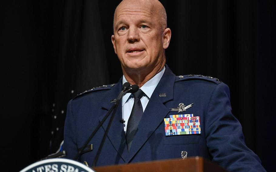 Chief of Space Operations Gen. John W. Raymond delivers remarks during a ceremony at the Pentagon transferring airmen into the U.S. Space Force on Sept. 15, 2020. About 300 Airmen at bases worldwide, including 22 in the audience, transferred during the ceremony.