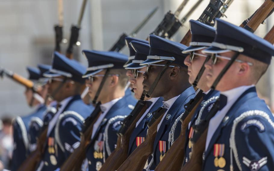 U.S. Air Force Honor Guard members execute drill movements April 23, 2018 at the Alamo in San Antonio, Texas. A four-month data analysis by the inspector general found disparities exist in the treatment of Black and white troops within the Air Force Department, Lt. Gen. Sami Said, the service IG chief, said Monday.