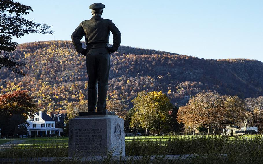 A statue of Gen. Dwight D. Eisenhower, Class of 1915, overlooks The Plain at the U.S. Military Academy in West Point, N.Y., in 2016.