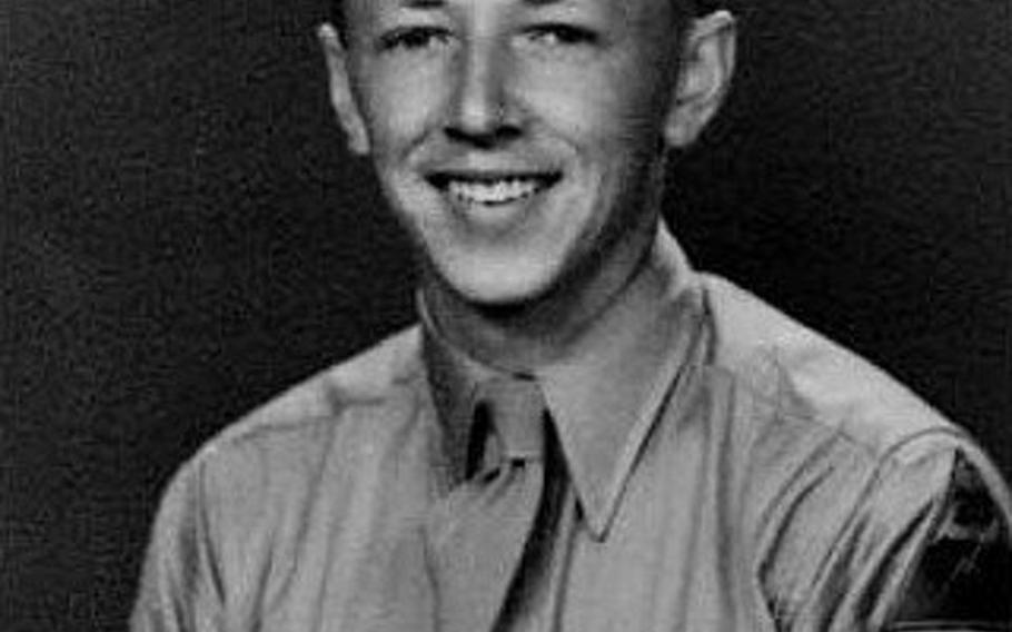 Staff Sgt. Charles M. Schulz, who went on to create Peanuts, poses in his U.S. Army uniform in 1943. Schulz said he drew on his experiences during World War II in putting together the comic strip.