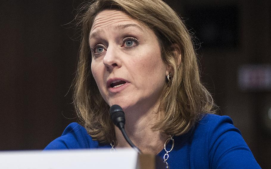 In a  Jan. 10, 2017 photo, Kathleen Hicks, then director of the International Security Program at the Center for Strategic & International Studies, testifies at a Senate Armed Services Committee hearing.